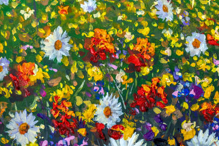 Original oil painting of flowers, beautiful field flowers on canvas. Modern Impressionism.Impasto artwork.