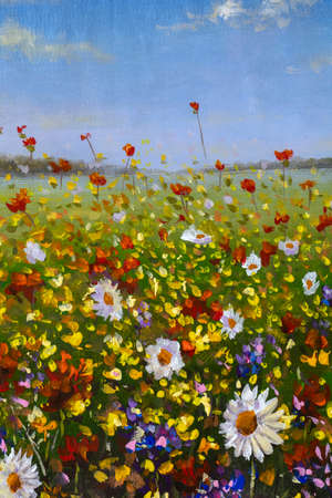 Oil painting flower field artwork background. Beauty warm garden flowers in grass modern impressionism art Standard-Bild
