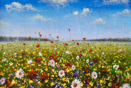 Flower painting wildflowers white daisies, red poppies and yellow beautiful flowers in grass on field oil paintings landscape impressionism artwork