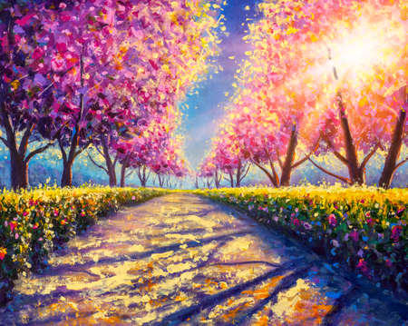 blossoming alley park of pink sakura - sunny acrylic painting on canvas