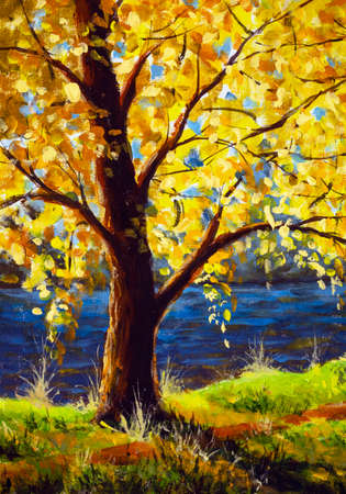 Original oil painting tree by river in sun sunlight, beautiful sunny landscape on canvas. Sun rays through branches of trees modern Impressionism artwork