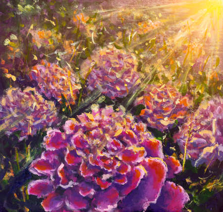 Acrylic and oil painting on canvas Purple pink flowers peonies roses in sun rays impressionism fine art