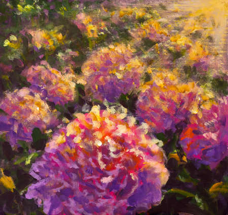 Impressionism painting Big purple pink flower peony rose. collection of designer oil paintings. Decoration for interior. Contemporary abstract flowers art on canvas.
