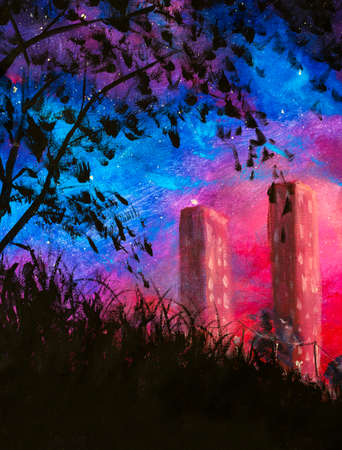 Vertical Oil painting night city Hand painted art background tall houses against background of purple starry sky