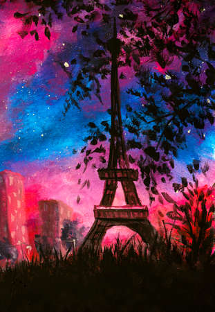 Oil Painting - Paris at night with purple clouds and beautiful silhouette of Eiffel tower artwork City Skyline of Paris with abstract purple starry night sky art Standard-Bild