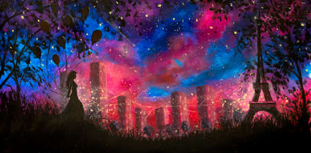 Hand painted art painting night city Paris with girl with balloons and beautiful Eiffel tower art fantasy background Oil painting acrylic on canvas night landscape with blue purple starry sky Standard-Bild