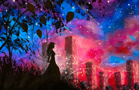 Oil acrylic modern painting silhouette of girl with balloons on background of night city artwork. Night fantasy landscape illustration with blue purple starry sky impressionism art Standard-Bild
