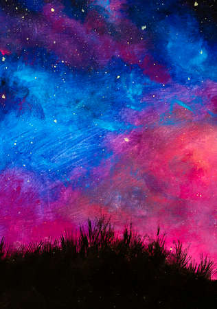 Hand painted background Oil painting acrylic on canvas beautiful night landscape with blue purple starry sky on background of black grass