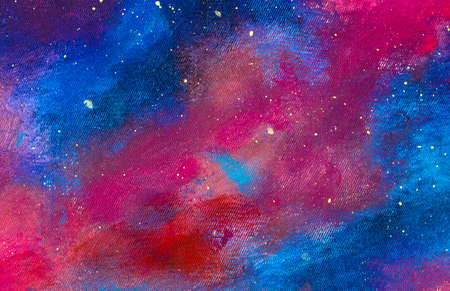 Hand painted background Oil painting acrylic on canvas landscape with blue purple starry sky background Standard-Bild