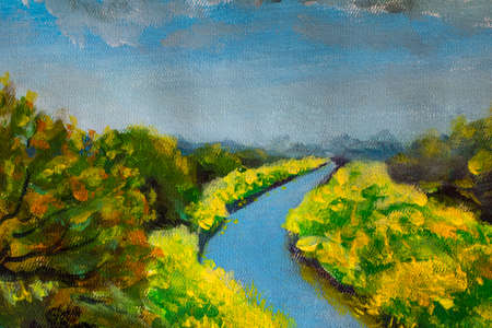 Impressionism painting on canvas sunny summer blooming landscape with fields of flowers and river