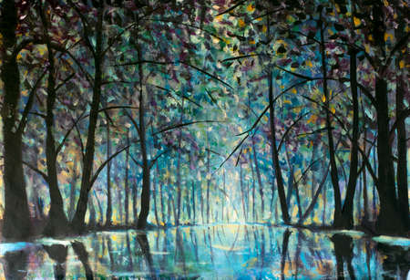 Oil painting romantic rainy blue misty forest park alley. Trees reflected in water impressionism illustration Standard-Bild