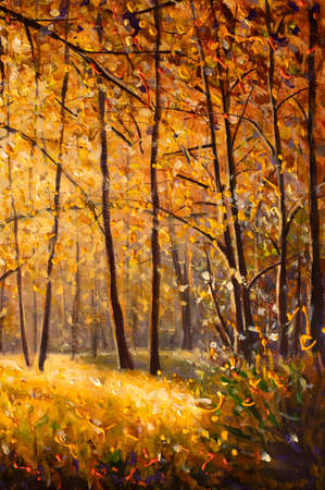Impressionism painting Sunny autumn day in yellow forest. Autumn trees with golden fall foliage original painting nature artwork landscape