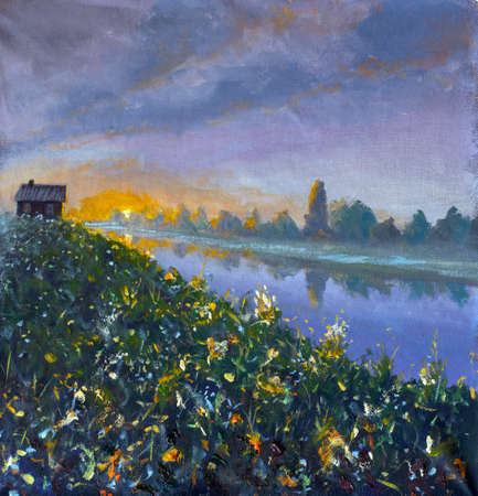 Oil painting on canvas Old rural rustic wooden house on river bank at dawn sunset - impressionism russian landscape artwork.