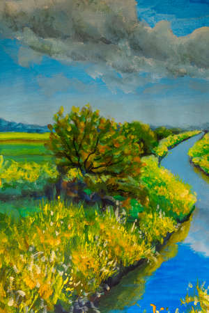 Sunny landscape painting with acrylics. Field of yellow wildflowers, blue sky, beautiful river. Impressionism spring landscape