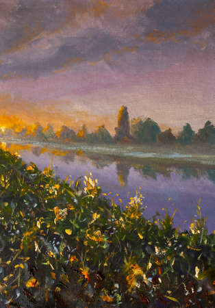 Painting with acrylics Dawn sunset over river. Green floral riverbank at sunrise modern oil painting Standard-Bild