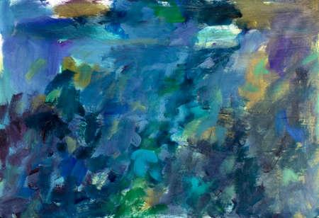 Beautiful delicate background painting on canvas. YELLOW GREEN BLUE HANDMADE BLURBACK ON CANVAS Standard-Bild