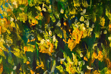 Yellow flowers in the grass oil painting fragment close-up. Texture impressionism paint on canvas.