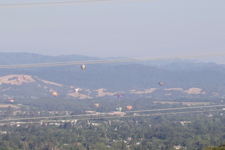 Shiloh Ranch Regional California air balloon.  The park includes oak woodlands, forests of mixed evergreens, ridges with sweeping views of the Santa Rosa Plain, canyons, rolling hills, a shaded creek,