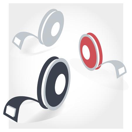 three generations: LED  tape icon, multicolored,  LED; vector; symbol; illustration