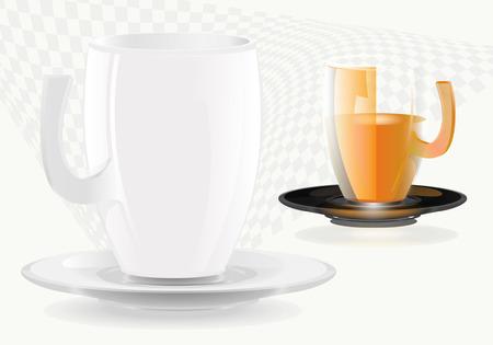crockery: cup, crockery, glass Illustration