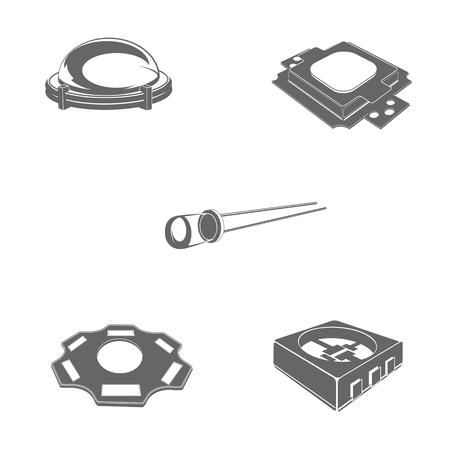 kilowatt: electrical equipment, LED equipment, icons, vector, symbol, equipment, lamp,
