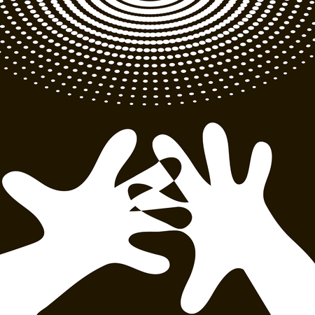 multi finger: raised hands contrasting background, concentric circles