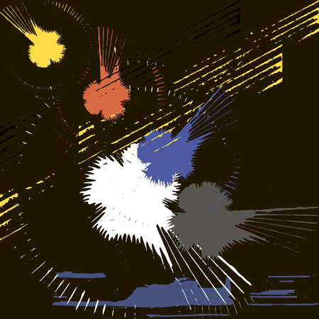 smears: Vector set of black and white and color ink splashes, blots and smears on a dark background. Series of vector blots, brush strokes and elements of design.