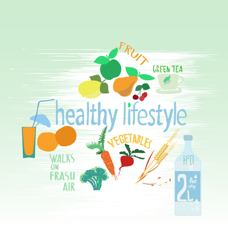 a set of elements of a healthy lifestyle. fruit, vegetables, beverages.