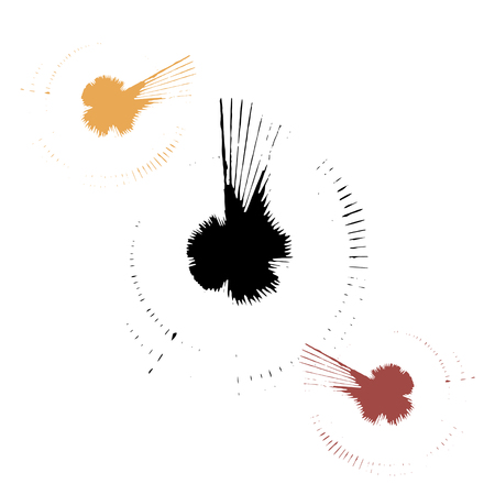 Vector set of black and white and color ink splashes, blots and smears on a dark background. Series of vector blots, brush strokes and elements of design.