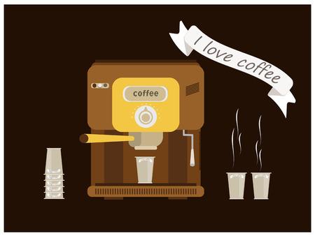 automatic coffee cups with coffee, I love coffee text Ilustração