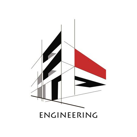 Diseño, construcción logo Foto de archivo - 69848741