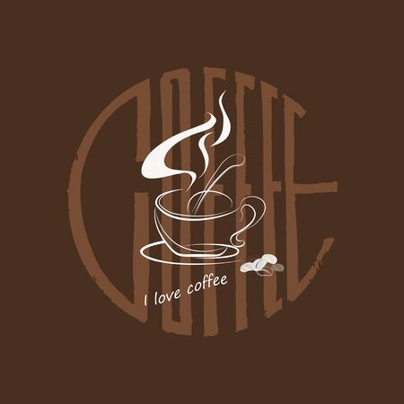 A cup of coffee, coffee beans