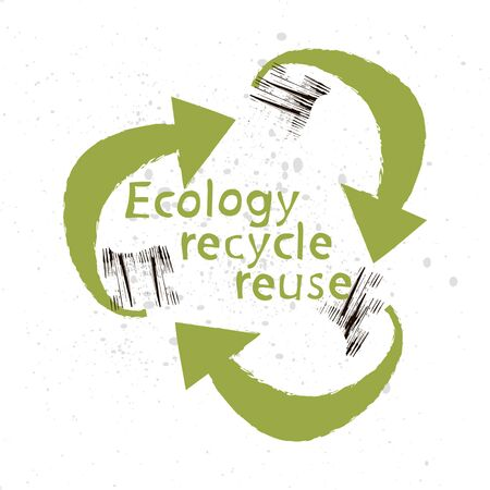 three arrows arranged in a circle. hatching Symbol, processing and use. Ecology and Environment