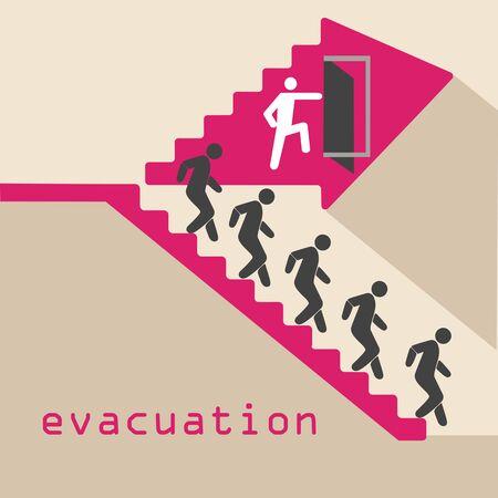 evacuation, emergency, stairs, door traveling people