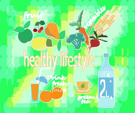 World health day concept with healty lifestyle background. Vector illustration