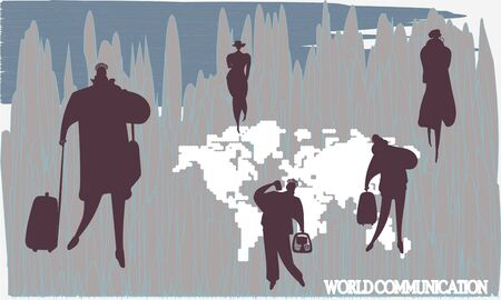 World map. Silhouettes of people. World communications. Imagens