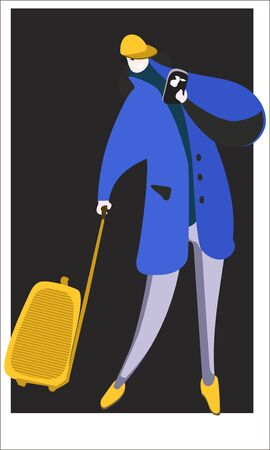 A man in a coat and a suitcase on wheels