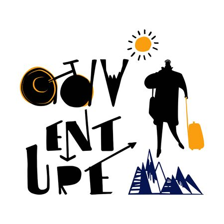 Travel, adventure, tourism. Silhouette of a man with luggage.