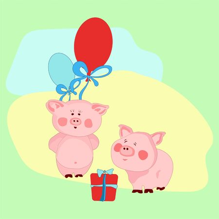 Congratulations on Valentines Day. Piglets with balloons, Boxed gift. Stock Photo