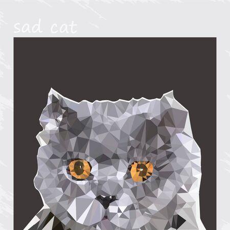 Silhouette of a sad cat. Cute grumpy cat, vector