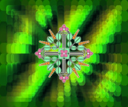 fractal with green and yellow cells.