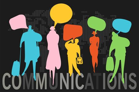 Style of communication. Silhouettes of people with symbols of communication. World map. Imagens