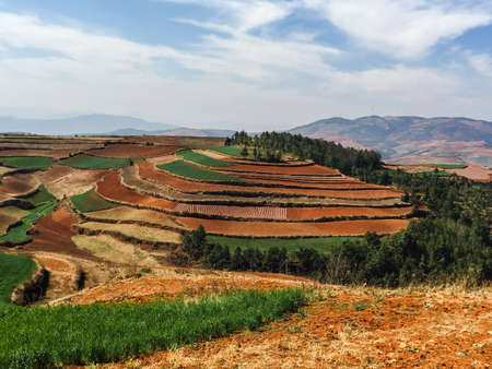 red soil: Dongchuan Red Soil Hongtudi in Yunnan, China Stock Photo