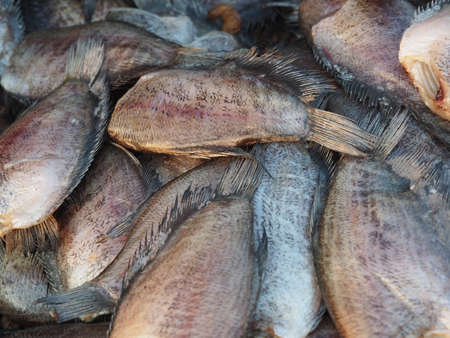 food preservation: Dried Trichogaster Pectoralis Fish, A Kind Of Food Preservation In Thailand Stock Photo