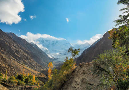 Rakaposhi Glacier Mountain Peak In The Karakoram Mountain Range, Nagar, Gilgit�Baltistan, Northern Pakistan Stock Photo