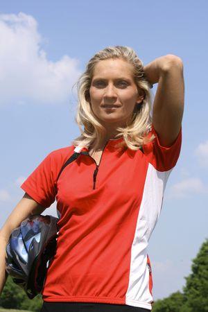 blond girl with helmet