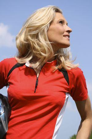 blond girl in biker-dress