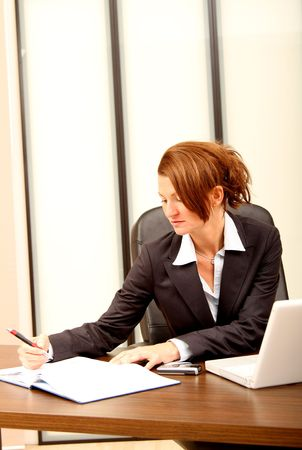 Businesswoman checking her agenda