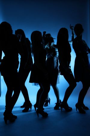 Silhoutte of dancing girls