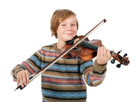 blonde jongen spelen van de viool Stockfoto